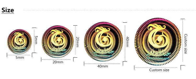 Egyedi nyomtatású csillogó matricalap, holografikus szivárványos átlátszó címkék